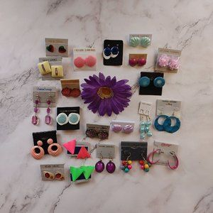 22 pairs colorful earrings lot